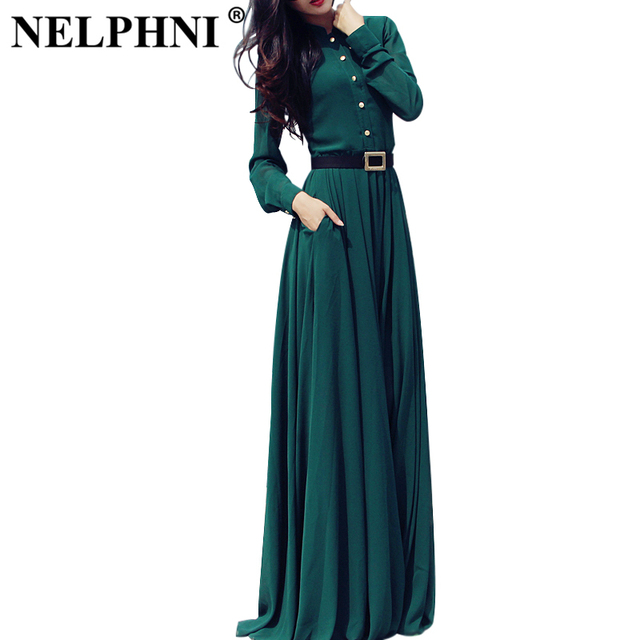 New fashion 2015 winter women maxi Dresses solid Green elegant party evening Stand Collar Long Sleeve slim casual long dress