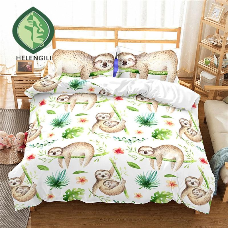 HELENGILI 3D Bedding Set Cartoon Sloth Print Duvet Cover Set Bedclothes With Pillowcase Bed Set Home Textiles #ET-16
