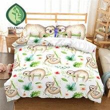 HELENGILI 3D Bedding Set cartoon Sloth Print Duvet cover set bedclothes with pillowcase bed home Textiles #ET-16