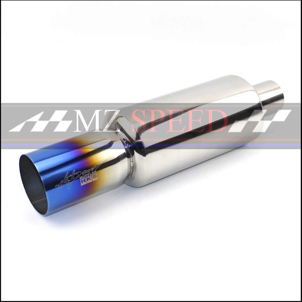 car styling Auto muffler exhaust stainless steel burn-blue muffler 51mm imported to 76mm outlet