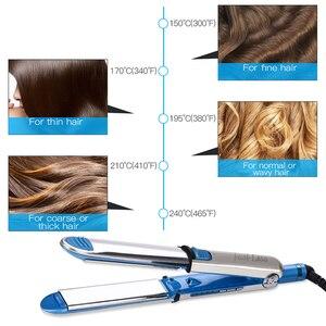 Image 4 - Профессиональные щипцы для выпрямления волос щипцы для завивки Nano Titanium плоский керамический Утюг для волос светодиодный Электрический выпрямитель
