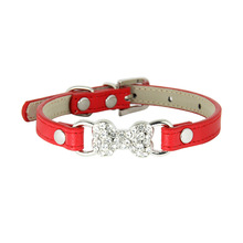 1 piece adjust pet supplies crystal diamond bone fashion PU leather dog collars for small cat traction rope accessories