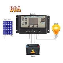 Солнечное зарядное устройство 10а 20а 30а жк напряжение шим солнечный регулятор батарея фотографической лампы панели зарядное устройство 5 v 2a телефон зарядное устройство