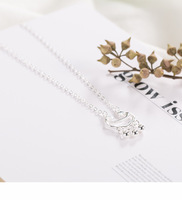 New silver necklace wild creative jewelry long life lock pendant small fresh clavicle chain HT01