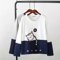 Autumn And Winter Nice T Shirts Female Tops With Long Sleeves Round Collar Embroidered Lovely Cartoon