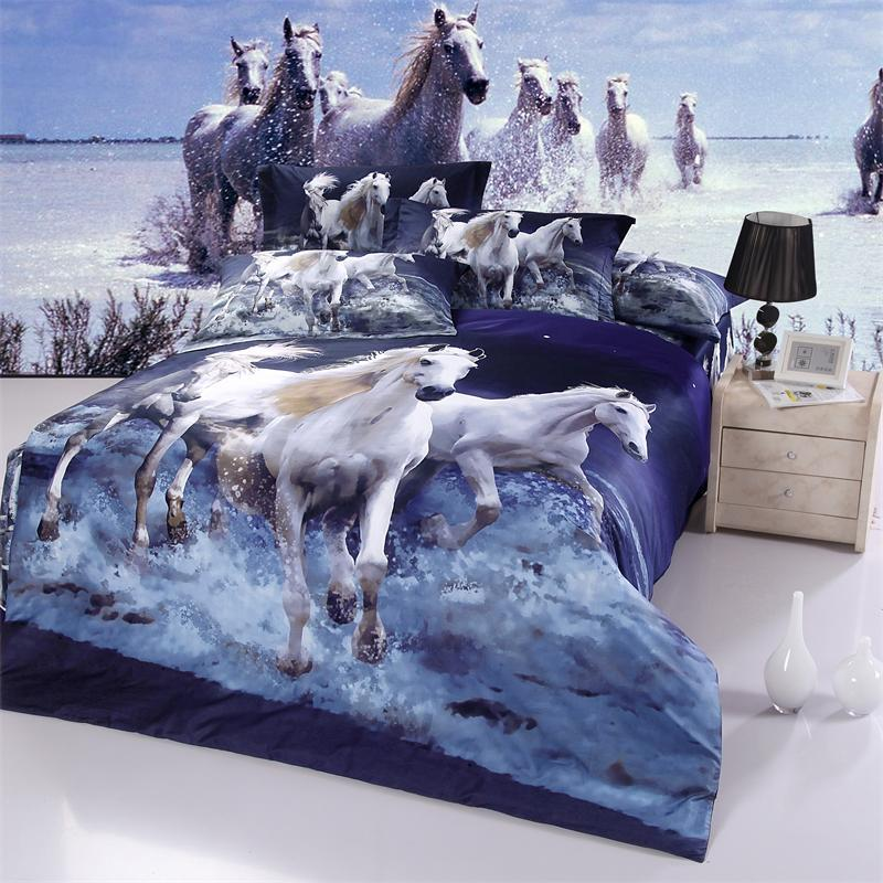 Queen Size 3d Oil Painting Galloping White Horse Bedding