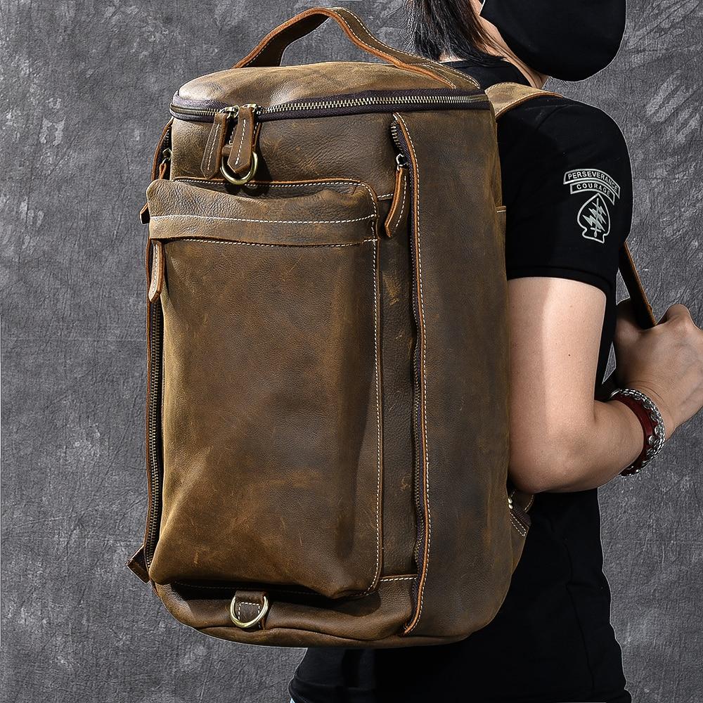 2018 大容量リュック男旅行バッグ登山バックパック男性荷物男の子キャンバスバケツショルダーバッグバッグ男性バックパック  グループ上の スーツケース & バッグ からの バックパック の中 1