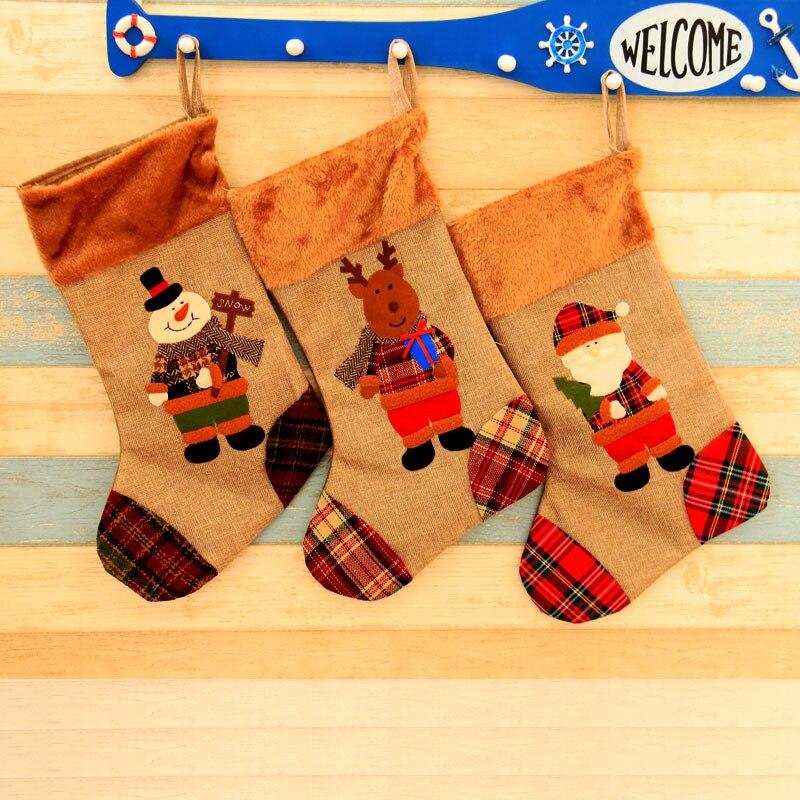 8d6988de3 Christmas Stocking Plaid Santa Claus sock gift bag kids Christmas decoration  candy bag Snowman Christmas tree ornaments supplies