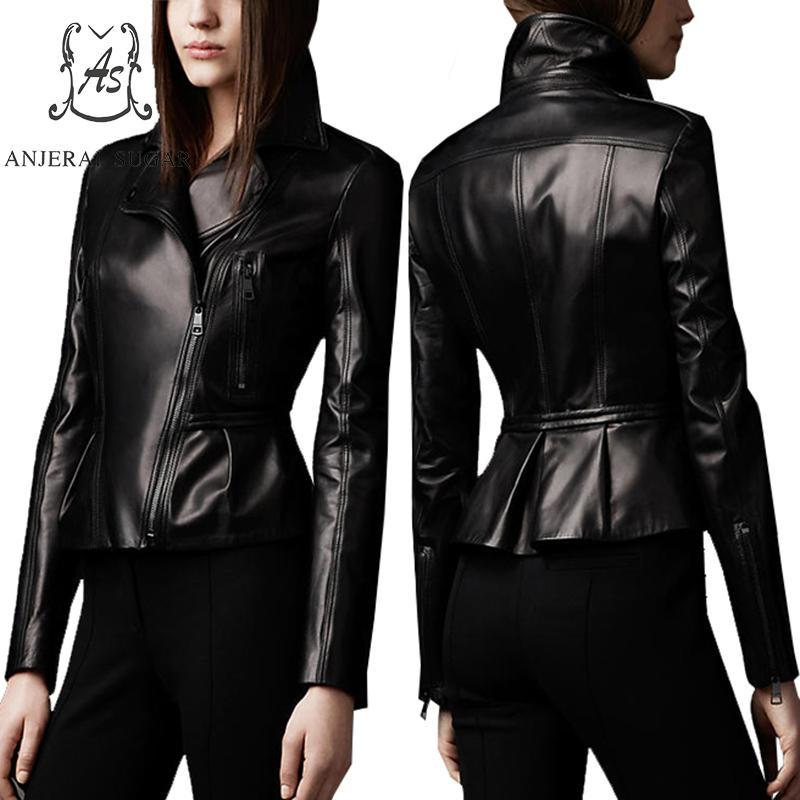 Spring new Sheepskin Genuine Leather jacket women Casual motorcycle black sexy slim Slanted zipper OL female short jackets coat