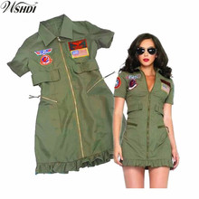 Army Green Female Airman Uniform Adult Womens Sexy Top Gun Costumes Halloween Party  sc 1 st  AliExpress.com & Buy top gun costume and get free shipping on AliExpress.com