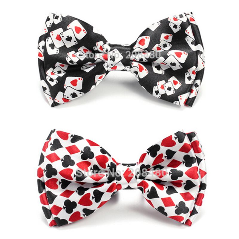 Bow Ties For Men Fashion Playing Card/Poker Red Black Tuxedo Dress Tie Party Formal Gift Wedding Shirts Cravat Dropshipping