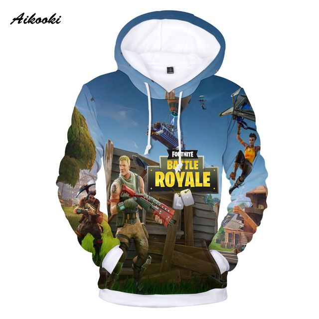 Aikooki Full 3D Print Game Fortnite Hoodies Men Cap Sweatshirt Polluver Harajuku Fortnite Battle Royale 3D Printed Men Clothing