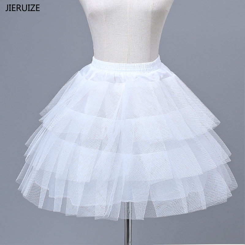 JIERUIZE Flower Girl Dress Petticoats Girl Underskirt Hard Tulle Lolita Cosplay Petticoat Ballet Tutu Skirt Rockabilly Crinoline