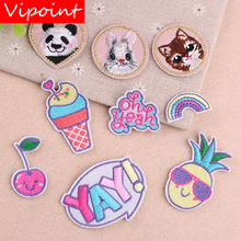 VIPOINT embroidery cats rabbit patches foods badges applique for clothing YX-12