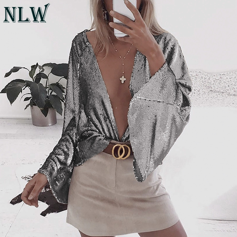 NLW Solid Silver Club   Blouse     Shirt   Women Open Stitch Sexy   Blouses     Shirt   Gold Wide Sleeve Streetwear Bling Bling Blusa Mujer
