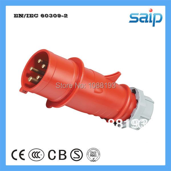 Red 32amp 380-415V IP44 Waterproof 3P+N+E 5pin IEC60309 CEE Male Industrial Coupler Electrical Plug