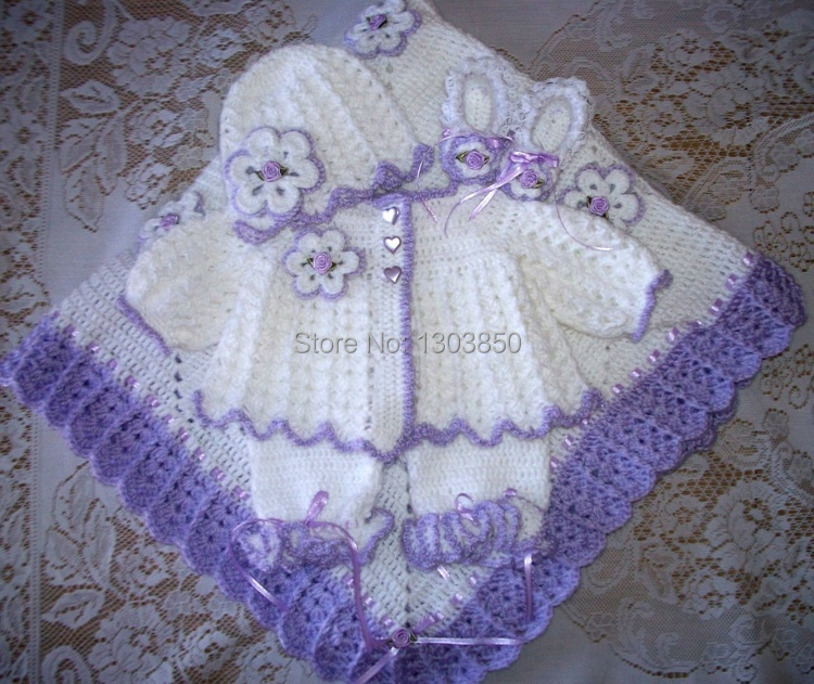 Pink Crochet Baby Girl Sweater Set Layette Perfect For -7076