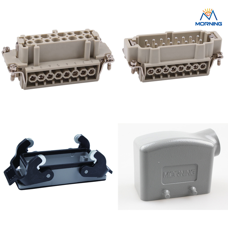HE-016  500v jack and plug 16A 16pins Heavy Duty Connector A Whole set 48pin 16a 400v 500v heavy duty connector 48 core aviation plug mk he 048 1