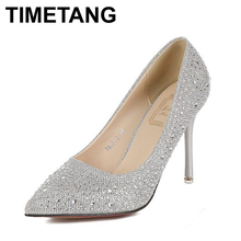 2016 Fashion Women's Pumps Sexy Rhinestone Wedding Shoes New Arrival Women Shoes Sapatos Femininos Sexy Red Bottom High Heels