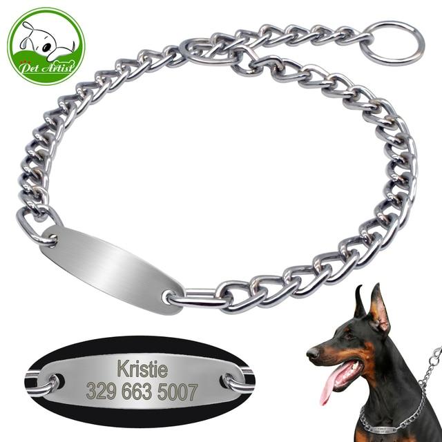 Grande Collare di Cane Catena Choke Personalizzati Collari Per Animali Argento C