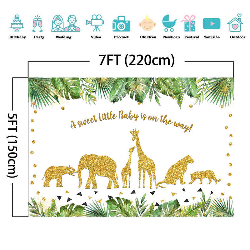 NeoBack Jungle Safari bebek duş zemin bebek hayvanlar doğum günü fotoğraf arka plan altın hayvanlar parti afiş arka planında