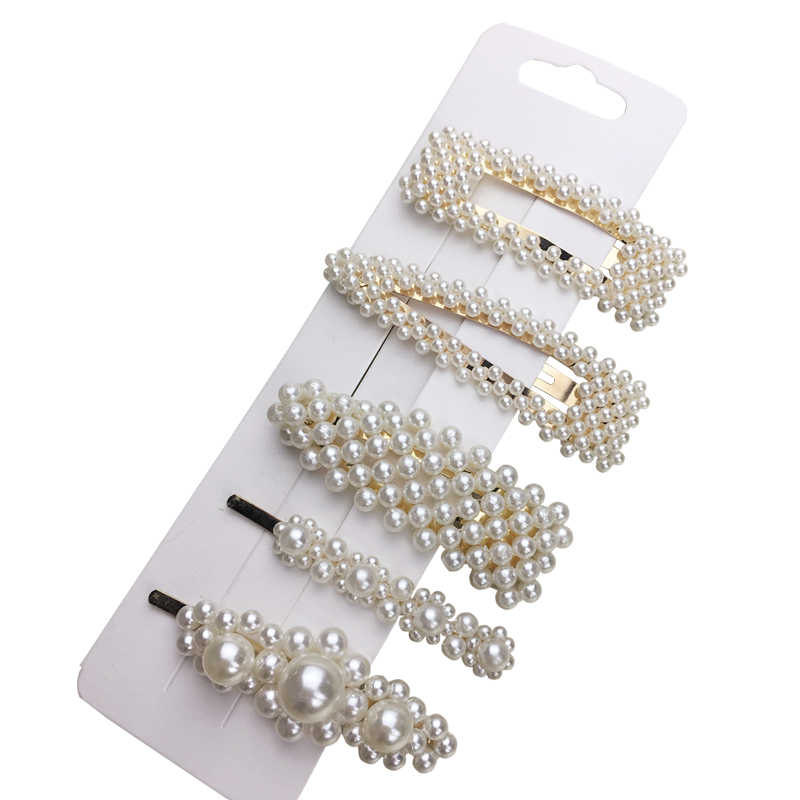 1Set Popular Pearl Hair Clips Fashionable Woman Summer Hair accessories Hairpins BB Clip Styling Tools Barrettes Headwear