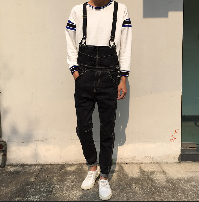 Black Denim Overalls Men 2017 New Fashion Bib Jeans Mens Overall Jeans With Suspenders Kangaroo Pocket Free Shipping free shipping denim overalls men 2016 new brand fashion mens bib denim shorts bib jeans fast delivery size s m l xl xxl 3xl 4xl