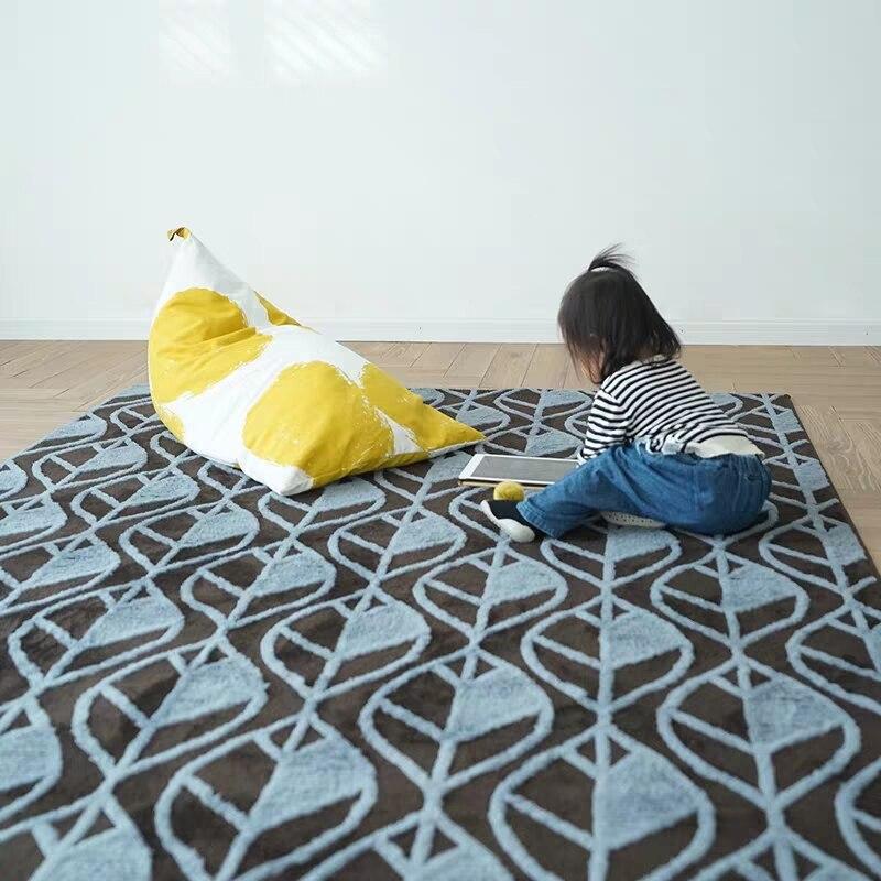 Style nordique 3D machine tissé poissons feuilles tapis de salon, décoration de la maison tapis de chevet, tapis de tatami doux