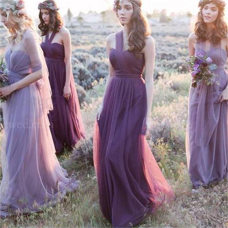 2016 Lavender Dress Long Chiffon Bridesmaid Dresses One Shoulder ...