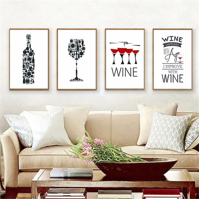 HAOCHU Wine Bottle Cup Abstract Painting Canvas Nordic Backdrop Art Poster Wall Pictures Sitting Dining Room