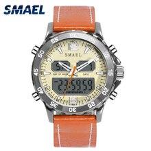 Smael Sport Watch Waterproof 50M Vintage Leather Watchband Watches LED Digital Male Clock 1281 Fashion Luxury Brand Mens