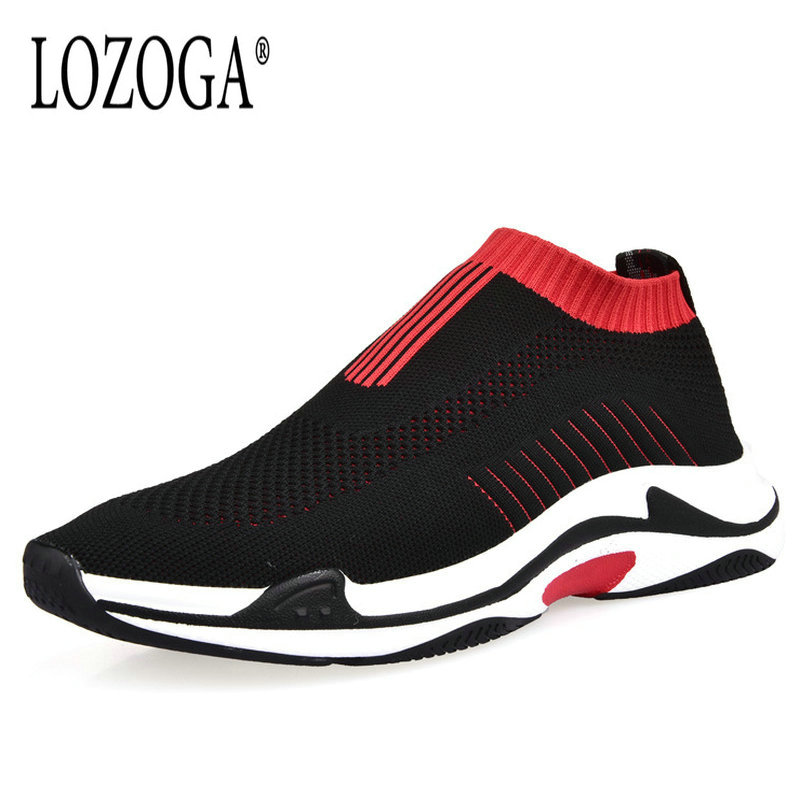 Lozoga Brand Men Casual Shoes 2018 New Trend Loafers Breathable Mesh Sneakers Slip On Luxury Quality Italy Design Leisure Shoes цена
