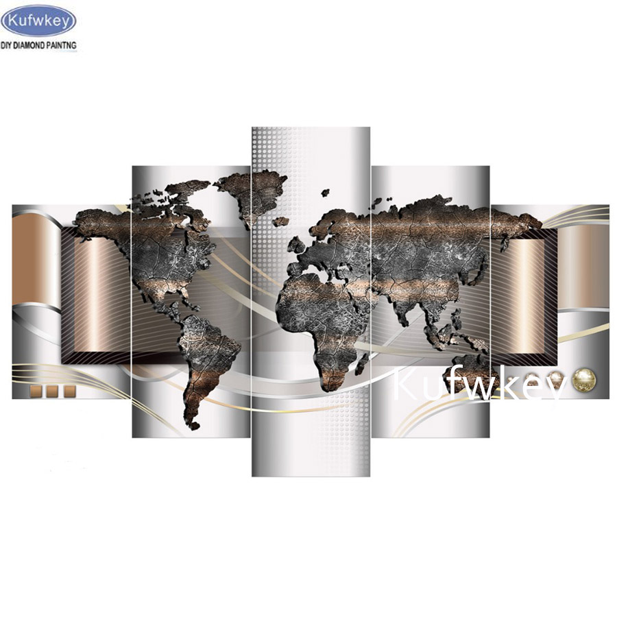 World Map Full Diamond Painting 5 panels cross stitch 5d diy Diamond Mosaic bead embroidery Pattern