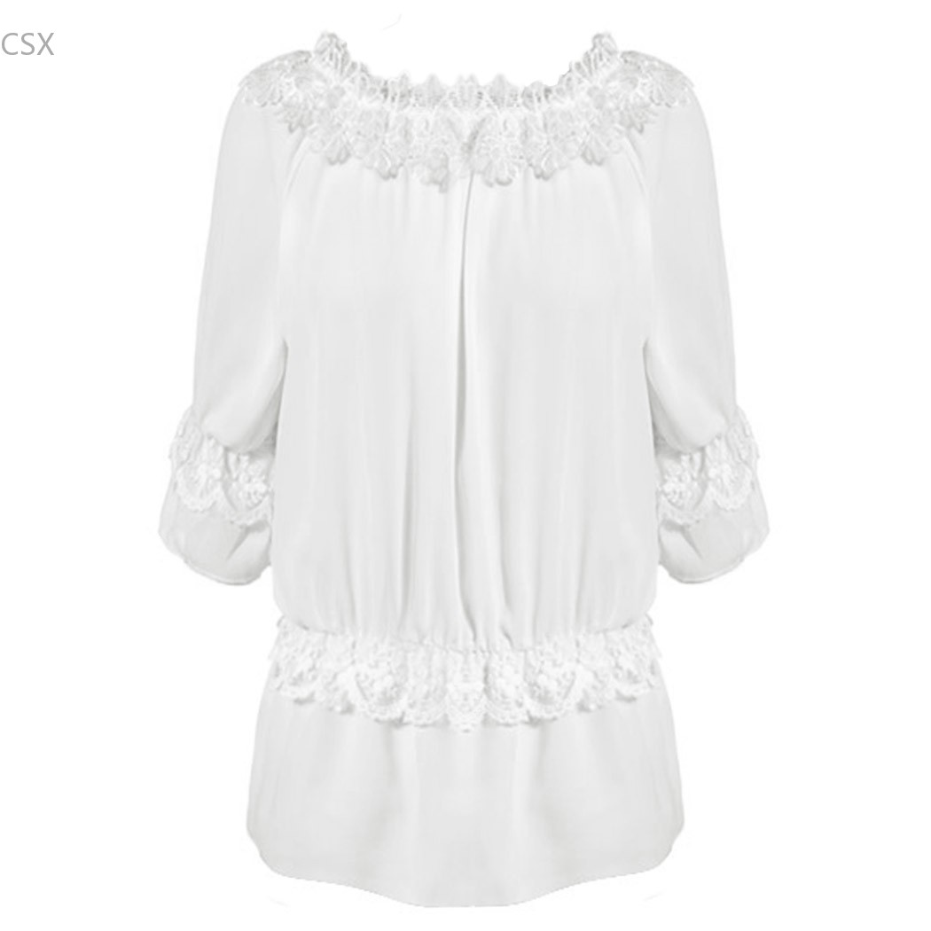 Hot Sale Shirt Blouses Women Tops Blusas Blouse Crochet Solid Slash Neck Sexy Lady Off-shoulder Chiffon Lace Casual 54