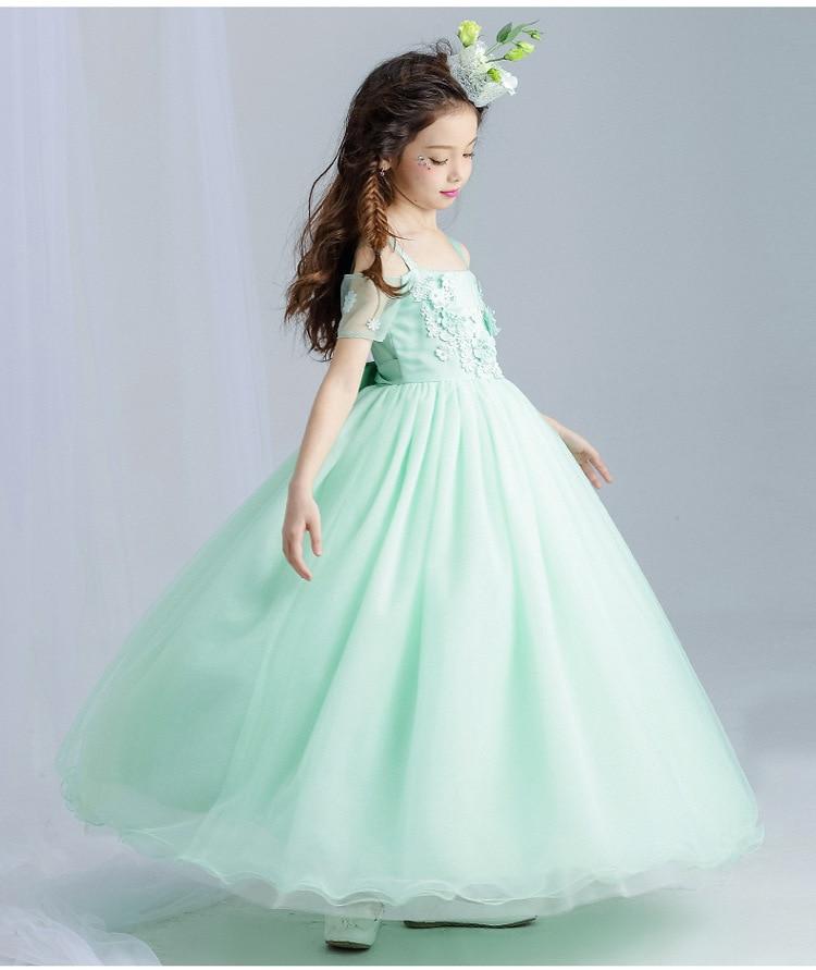 Mint Green Elegant Tulle Lace Girl Wedding Dress Ankle