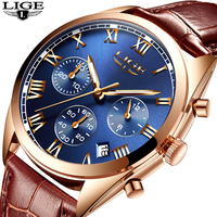 2018 LIGE luksusowa marka mężczyzna zegarek kwarcowy męska wodoodporna moda sport zegarek męski skórzany zegarek Relogio Masculino + box