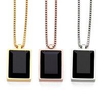 NYUK Simple Luxury Black Square Gem Small Pendant Necklace Crystal Rhinestone Fashion Choker Rose Gold Jewelry