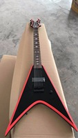 Wholesale New 7 string Customize electric guitar Flying V Black Hardware With Red Side In Black 170420