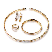CMajor Silver/Gold Color Tennis Metallic Earrings Ring Necklace Bracelet With CZ Jewelry Set for Women Wedding Jewelry Sets