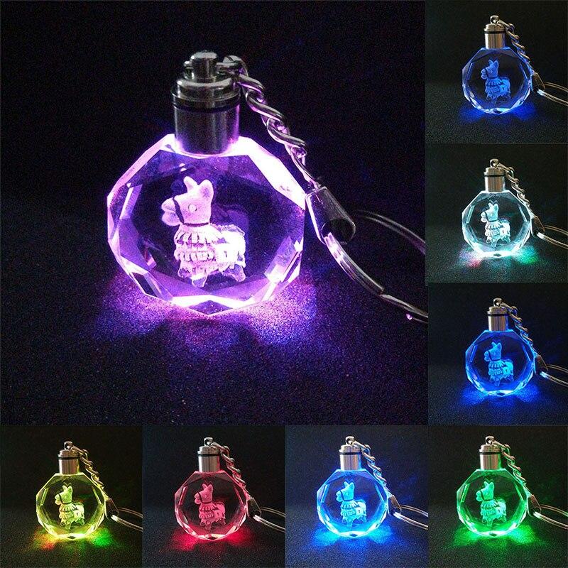 Alpaca K9 Crystal Pendant Keychain  Laser Engraved Flash Color Change Light Chain Keyring Kids Christmas Gifts