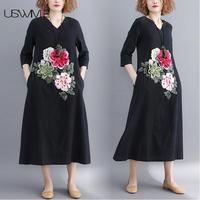 2018 Autumn Women Dress Art Embroidery Three Quarter Sleeve V neck Solid Color Plus Size Dress Long Section Vestidos USWMIE