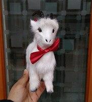 simulation cute white goat 17x16cm toy model polyethylene&furs goat model home decoration props ,model gift d259