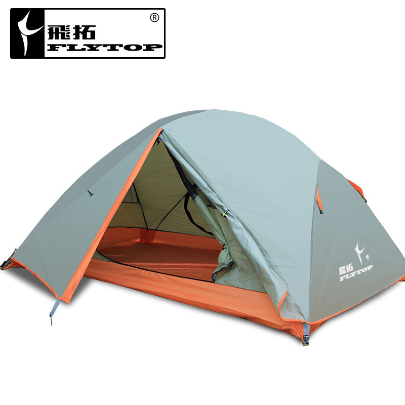 Flytop high grade 2persons aluminum pole double layer double door windproof water proof professional camping tent high quality outdoor 2 person camping tent double layer aluminum rod ultralight tent with snow skirt oneroad windsnow 2 plus