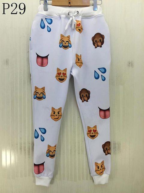 Emoji corredores SweatPant Mulheres/homens pant Streetwear 3d 100 pontos calças compridas de cintura Elástica calças Harém Hip hop p29