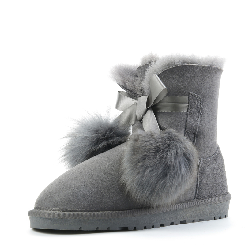 RUIYEE ladies sheepskin snow boots leather boots sheepskin wool jumpsuit warm non-slip 2018 new snow boots ruiyee ladies snow boots sheepskin wool integrated boots furry tie bow waterproof boots fashion warm non slip wear