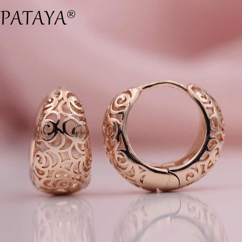 PATAYA New Arrivals Unique Exquisite Carved Hollow 585 Rose Gold Dangle Big Earrings Women Wedding Party Fine Trendy Jewelry