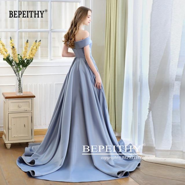 2019 BEPEITHY Abiye Long Tail Dress Off The Shoulder Evening Dress Party Elegant Robe De Soiree Sexy Prom Dresses High Slit 2