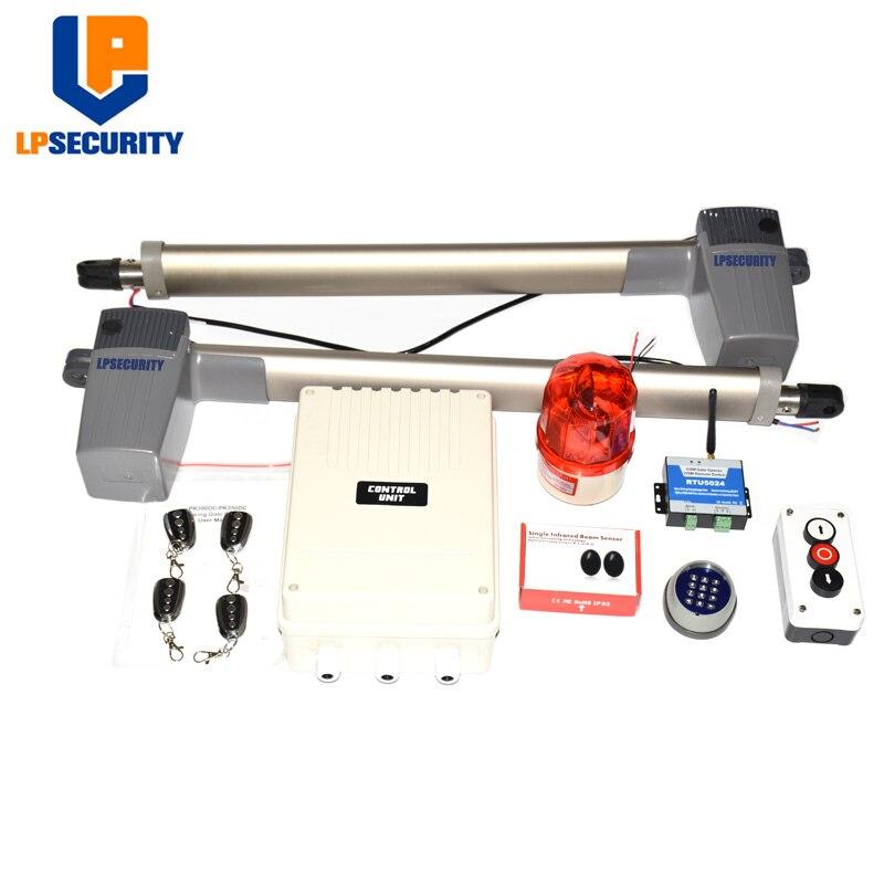 Opérateur de porte battante ouvre-porte support batterie de secours et à énergie solaire (capteur, lampe, bouton, clavier sans fil, gsm en option)