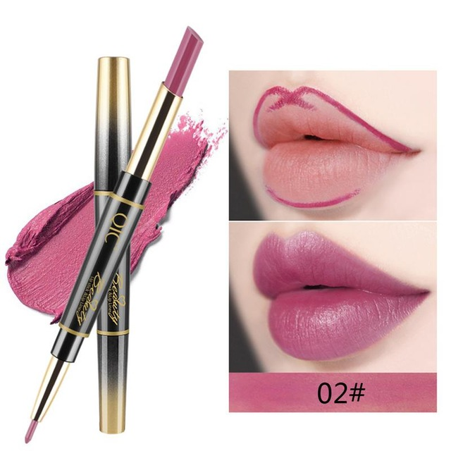 QIC Matte Lipstick Wateproof Double Ended Long Lasting Lipsticks Brand Lip Makeup Cosmetics Nude Dark Red Lips Liner Pencil 2