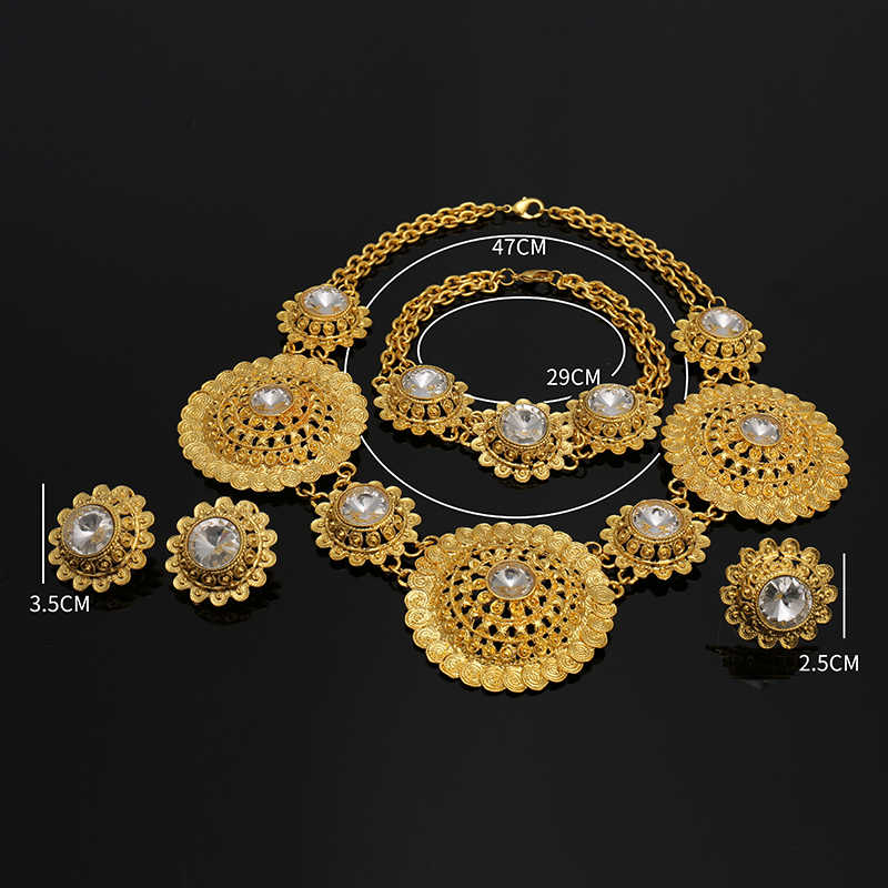Luxury Flower Boom Women Nigerian Bridal Naija Bride imitate Cubic Zirconia Necklace Dubai 4PCS Jewelry Set Jewellery Addiction